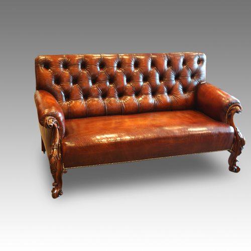 Victorian leather Gentlemans club sofa