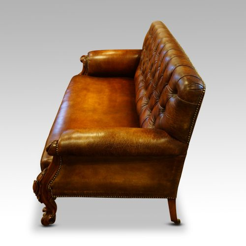 Victorian leather Gentlemans club sofa end view