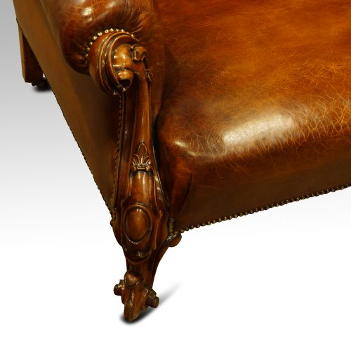 Victorian leather Gentlemans club sofa front leg