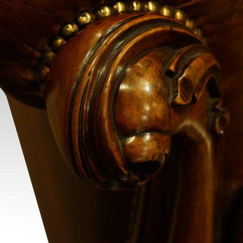 Victorian leather Gentlemans club sofa hand grip