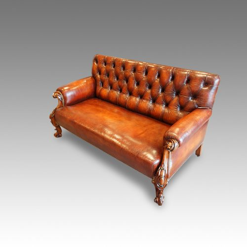Victorian leather Gentlemans club sofa,1
