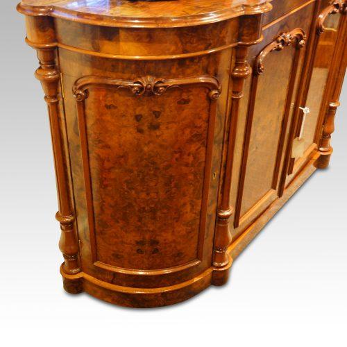 Victorian walnut credenza cabinet door detail