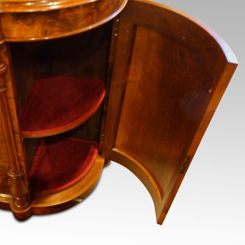 Victorian walnut credenza cabinet door open