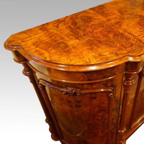 Victorian walnut credenza cabinet top end