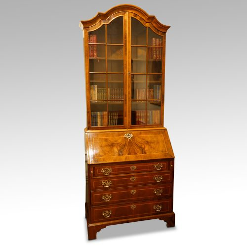Walnut dome top bureau bookcase