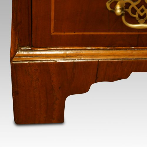 Walnut dome top bureau bookcase bracket foot
