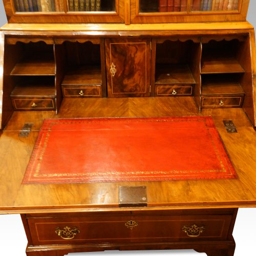 Walnut dome top bureau bookcase full interior
