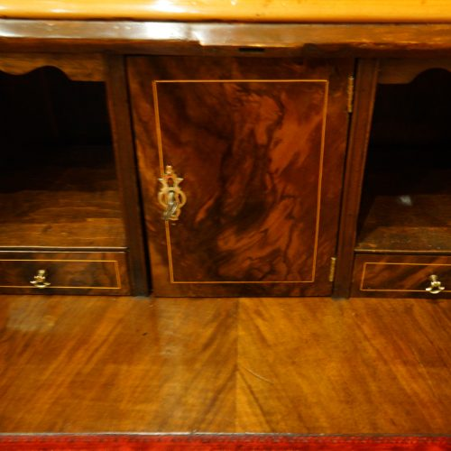 Walnut dome top bureau bookcase interior door