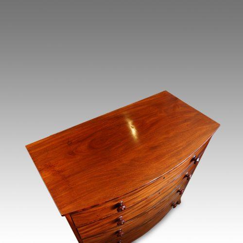 Georgian mahogany bow chest top