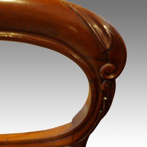 Set of 6 Victorian mahogany balloonback dining chairs carving detail