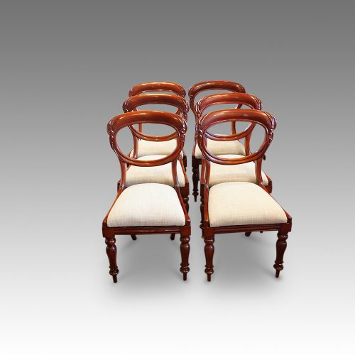 Set of 6 Victorian mahogany balloonback dining chairs front