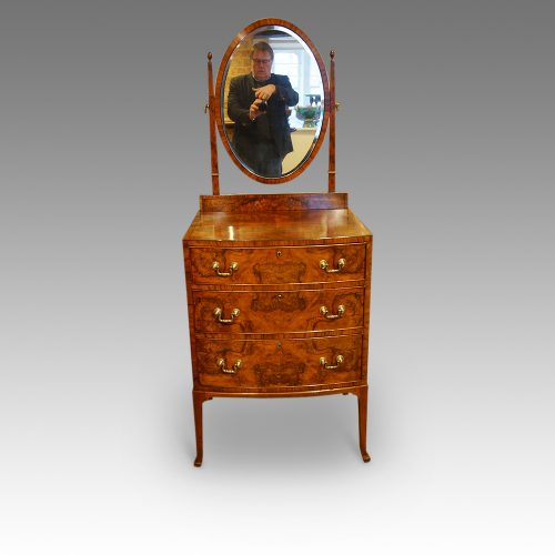 Walnut bow front dressing table