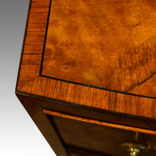 Walnut bow front dressing table banding