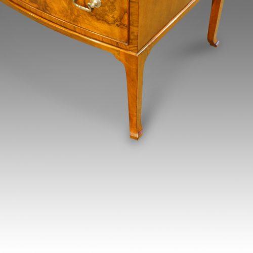 Walnut bow front dressing table leg