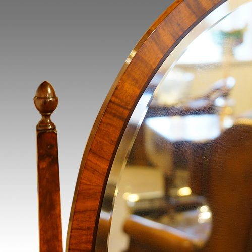 Walnut bow front dressing table mirror support