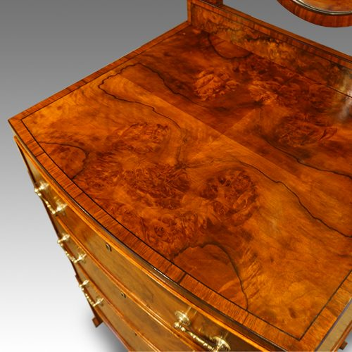 Walnut bow front dressing table top