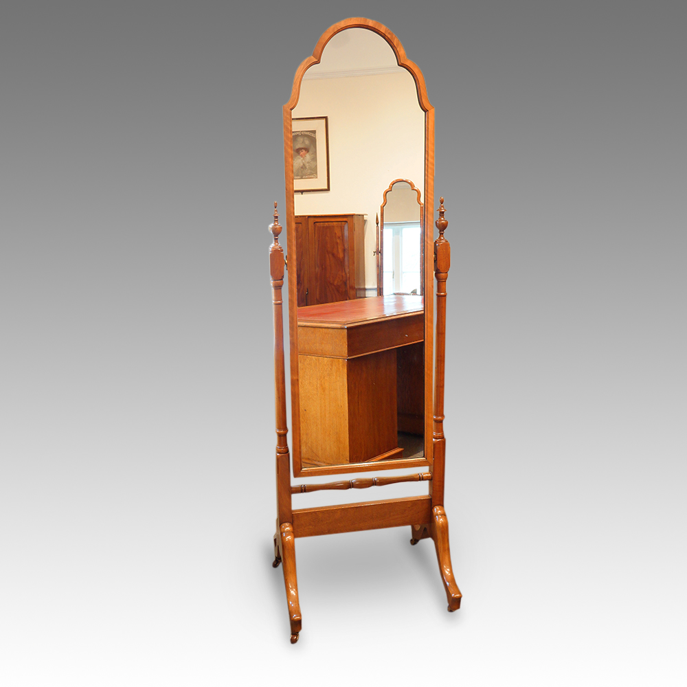 Walnut Dome Top Cheval Mirror Hingstons Antiques Dealers
